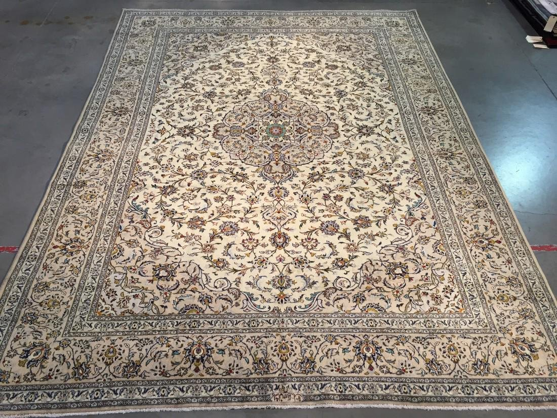 "STUNNING ANTIQUE PERSIAN KASHAN RUG SIGNED 9'.9""X13'"
