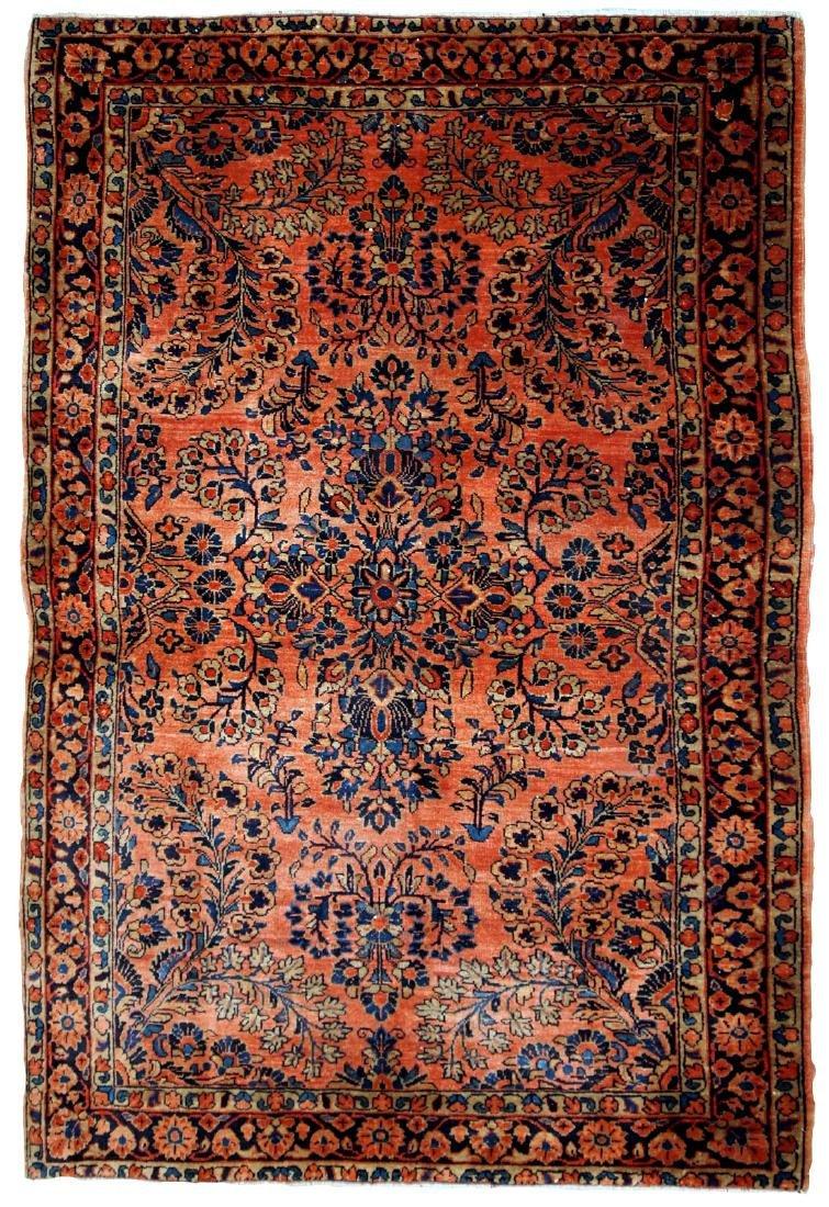 Handmade antique Persian Sarouk rug 3.2' x 5.3' ( 97cm