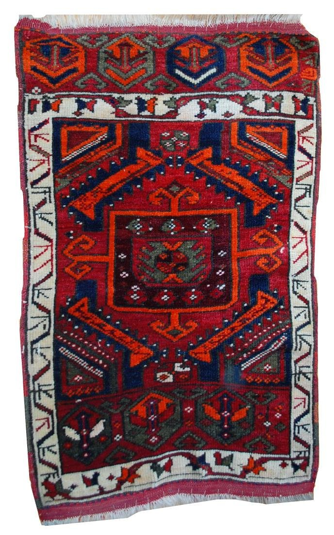 Handmade antique collectible Turkish Yastik rug 2' x