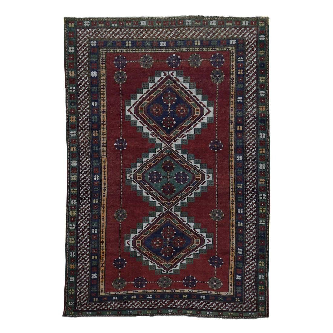 Antique Caucasian Kazak Good Condition Hand Knotted Rug