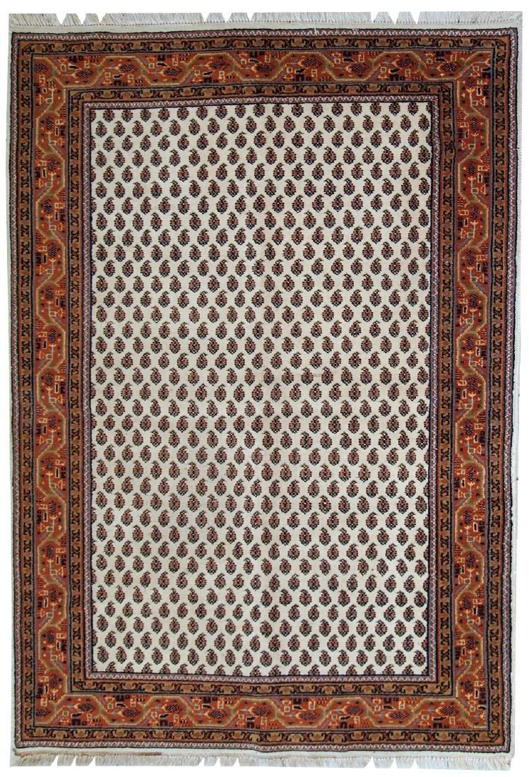 Handmade vintage Indian Seraband style rug 4' x 5.7' (