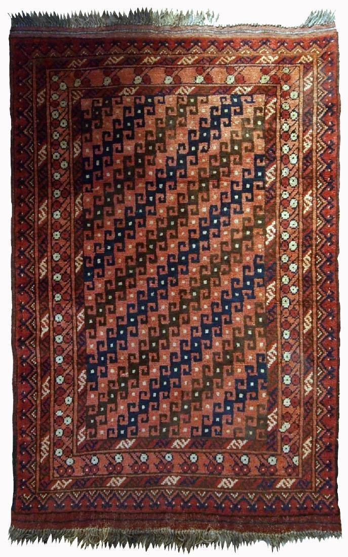 Handmade antique Afghan Baluch rug 2.7' x 4.8' ( 82cm x