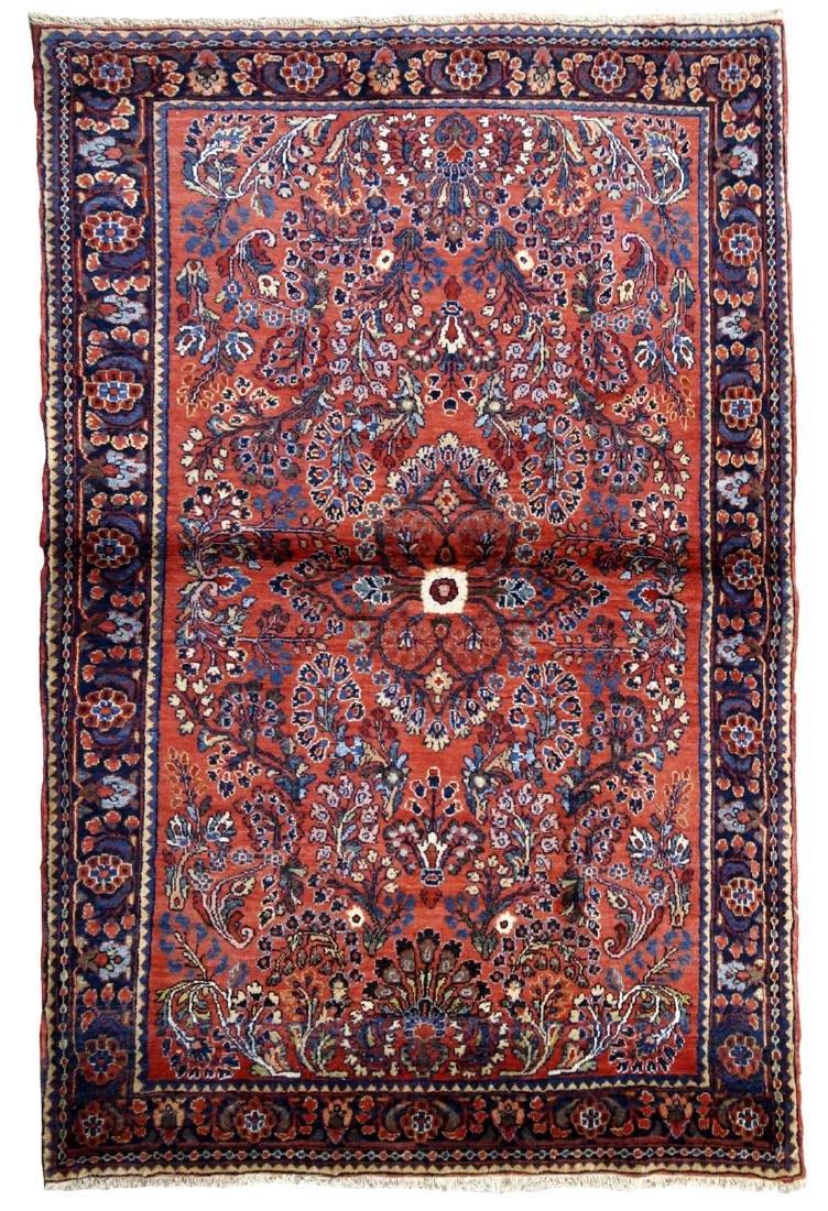 Handmade antique Persian Sarouk rug 3.2' x 5.2' ( 97cm