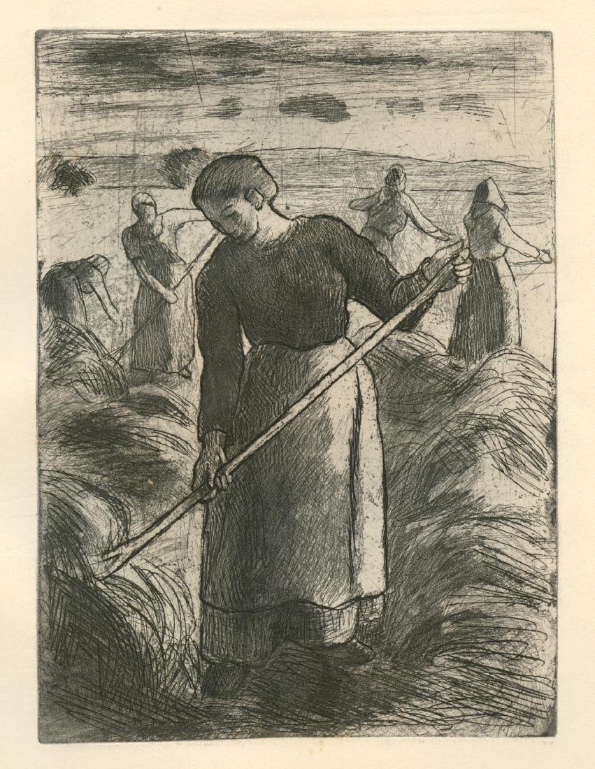 "Camille Pissarro ""Faneuses d'Eragny"" original etching"
