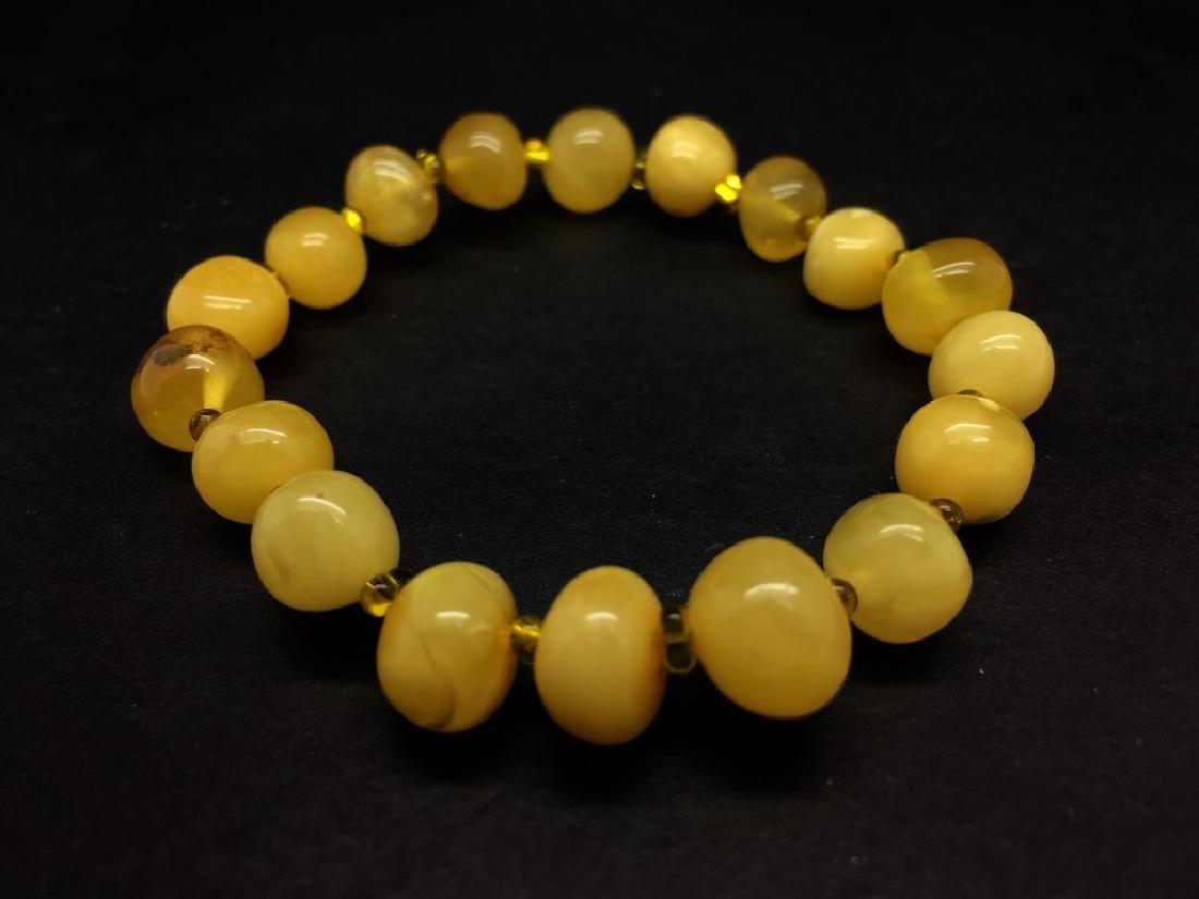 Bracelet amber  baroque hand-polished beads 8,6g - 6
