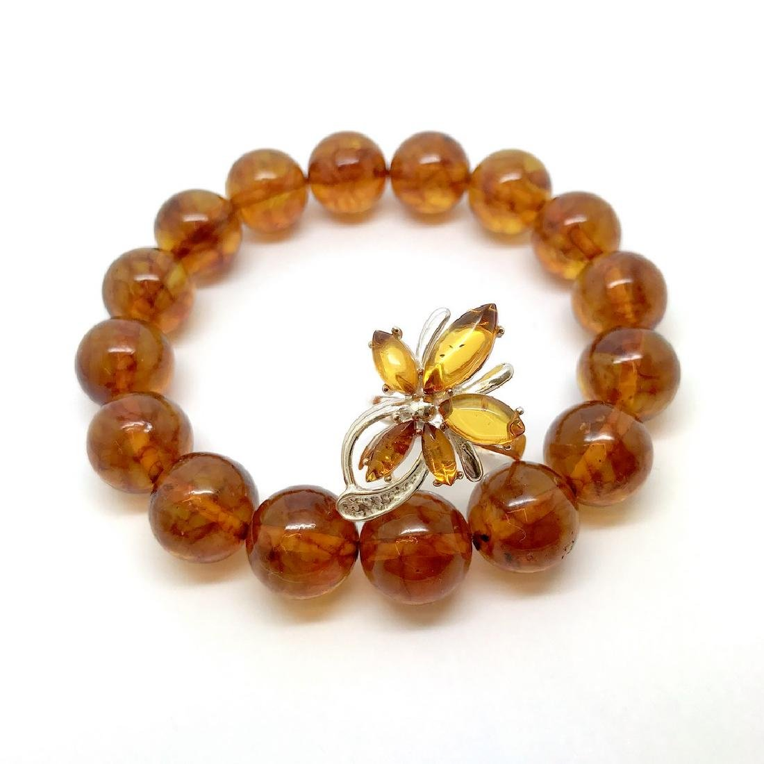 Bracelet & ring with Baltic amber Silver 925