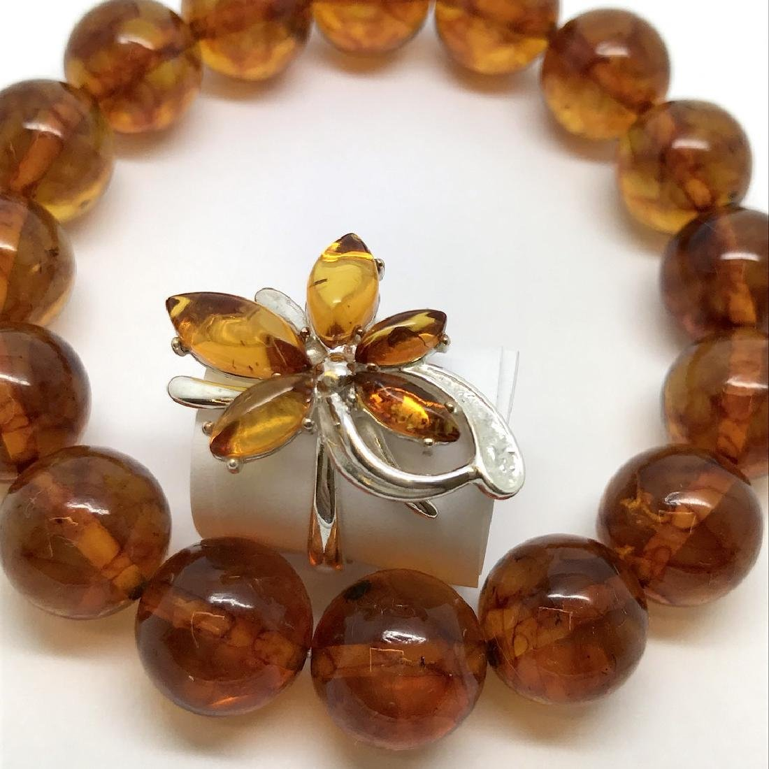 Bracelet & ring with Baltic amber Silver 925 - 2