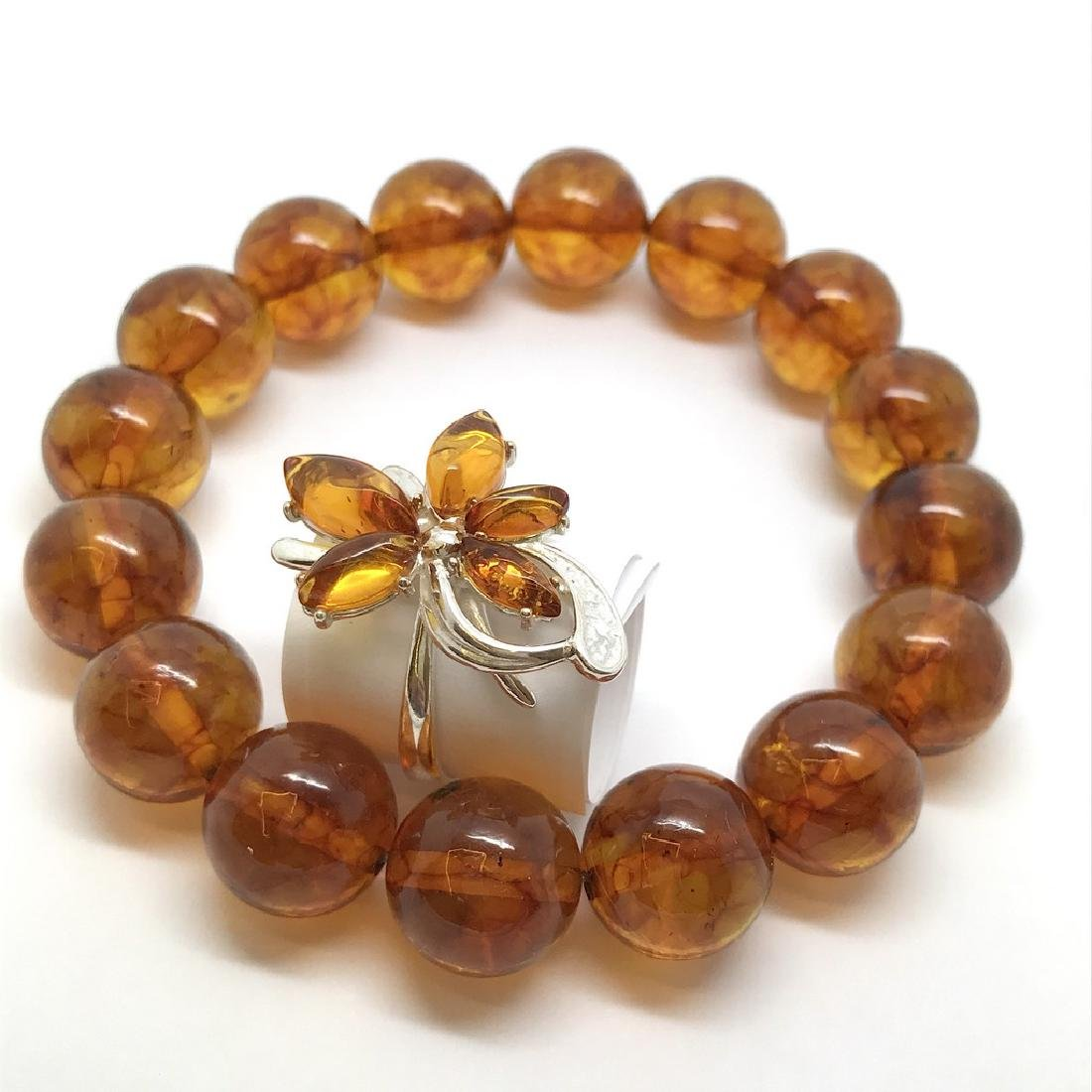 Bracelet & ring with Baltic amber Silver 925 - 3