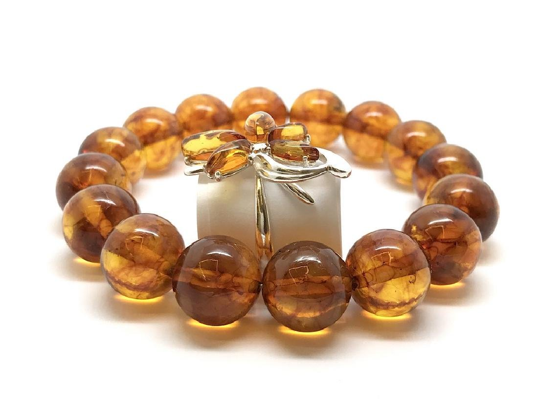 Bracelet & ring with Baltic amber Silver 925 - 4