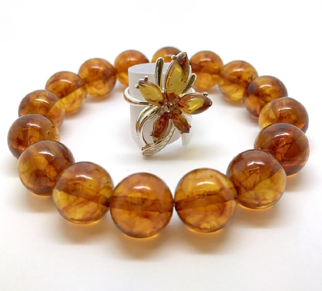 Bracelet & ring with Baltic amber Silver 925 - 5