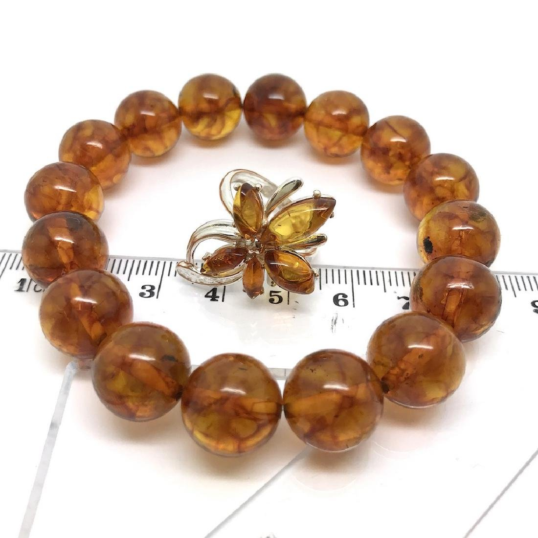 Bracelet & ring with Baltic amber Silver 925 - 8