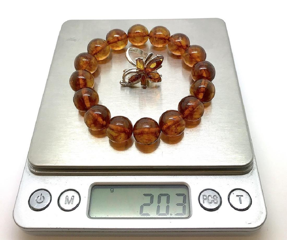 Bracelet & ring with Baltic amber Silver 925 - 9