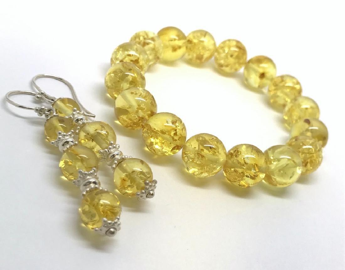 Baltic amber & sterling silver bracelet & earrings 19 - 2