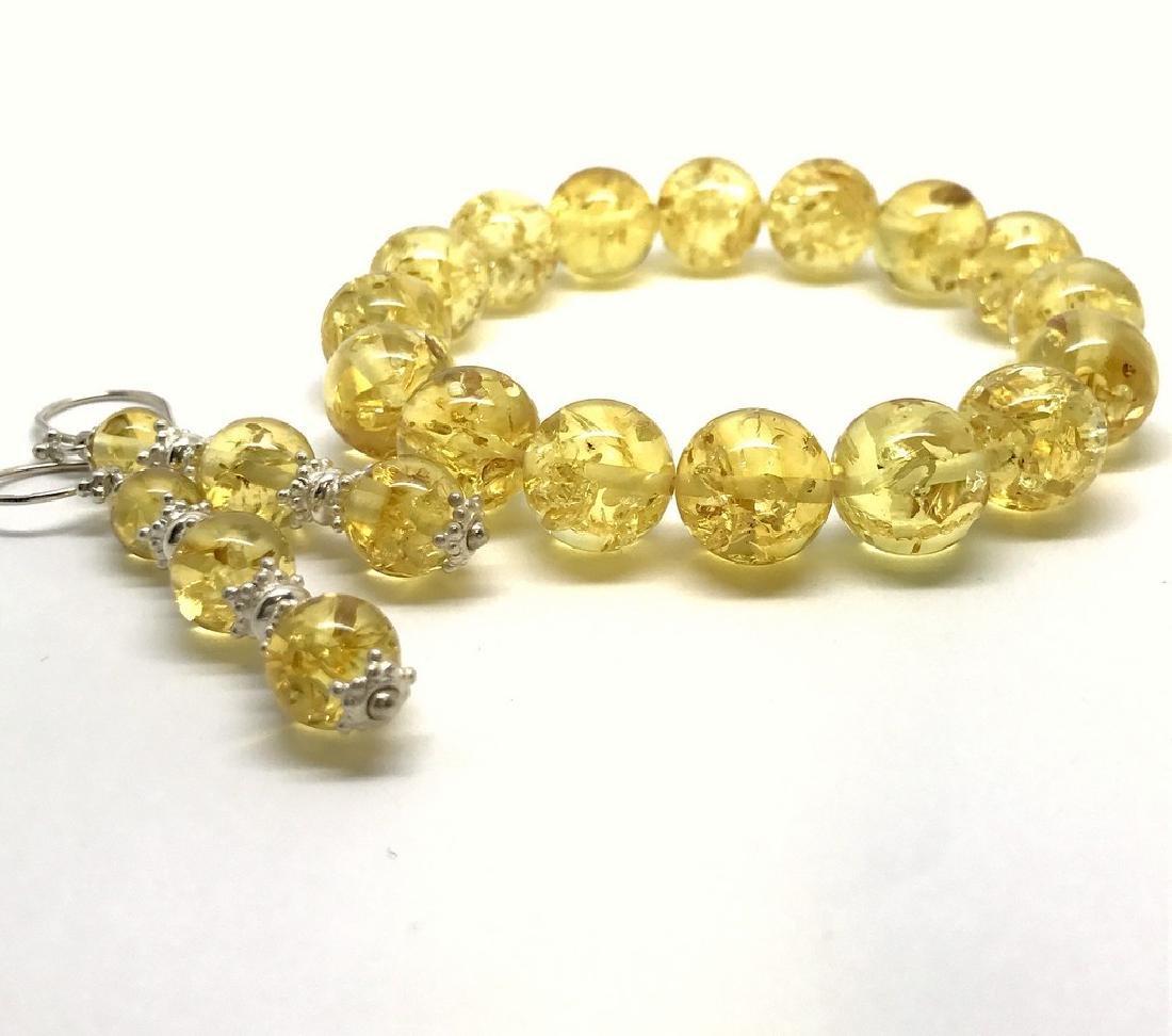 Baltic amber & sterling silver bracelet & earrings 19 - 3