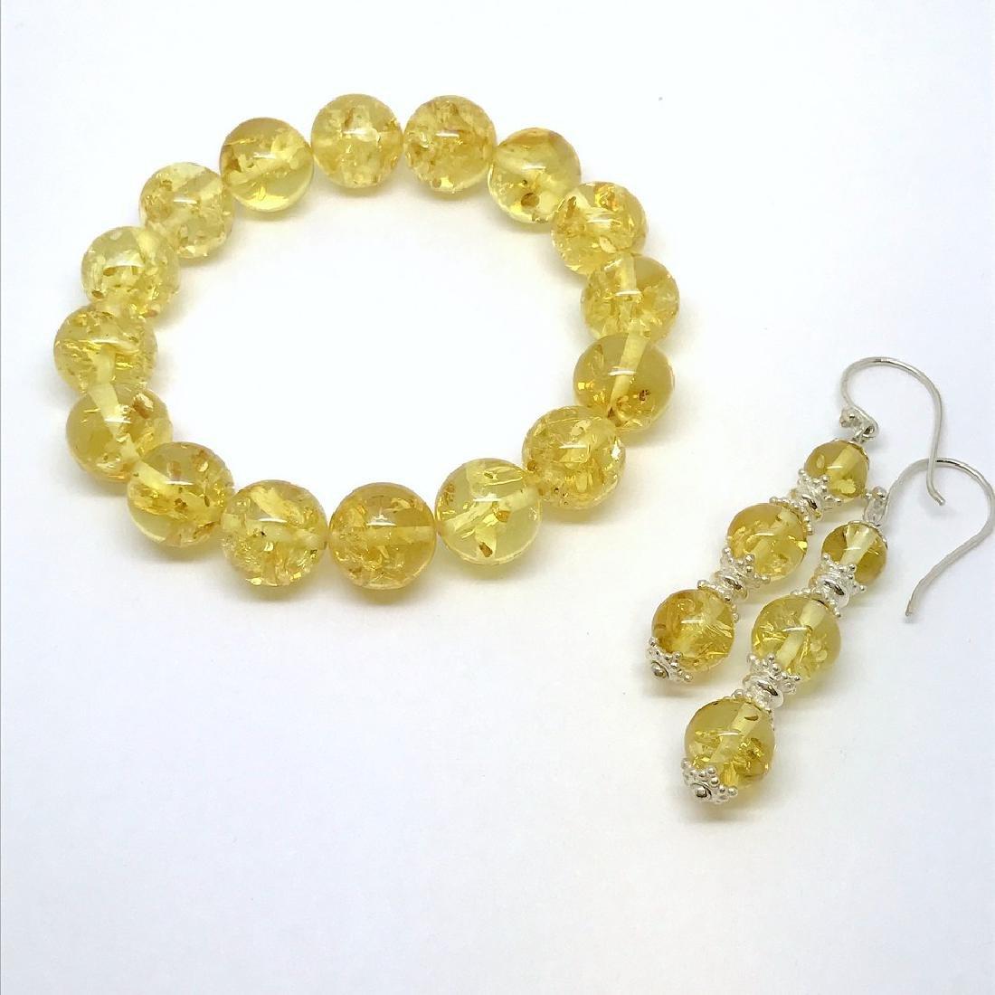 Baltic amber & sterling silver bracelet & earrings 19 - 6
