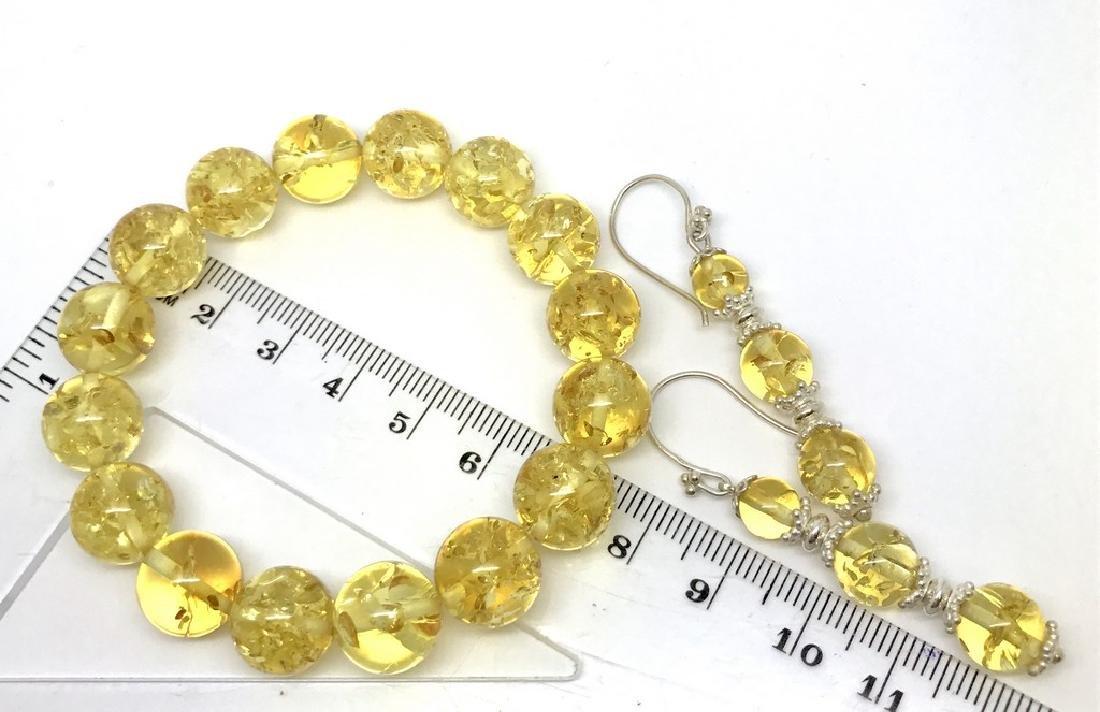 Baltic amber & sterling silver bracelet & earrings 19 - 8