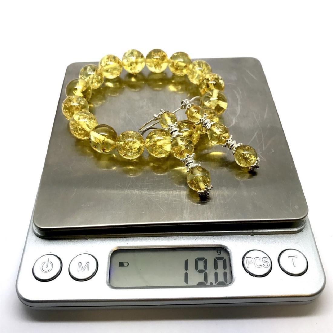 Baltic amber & sterling silver bracelet & earrings 19 - 9