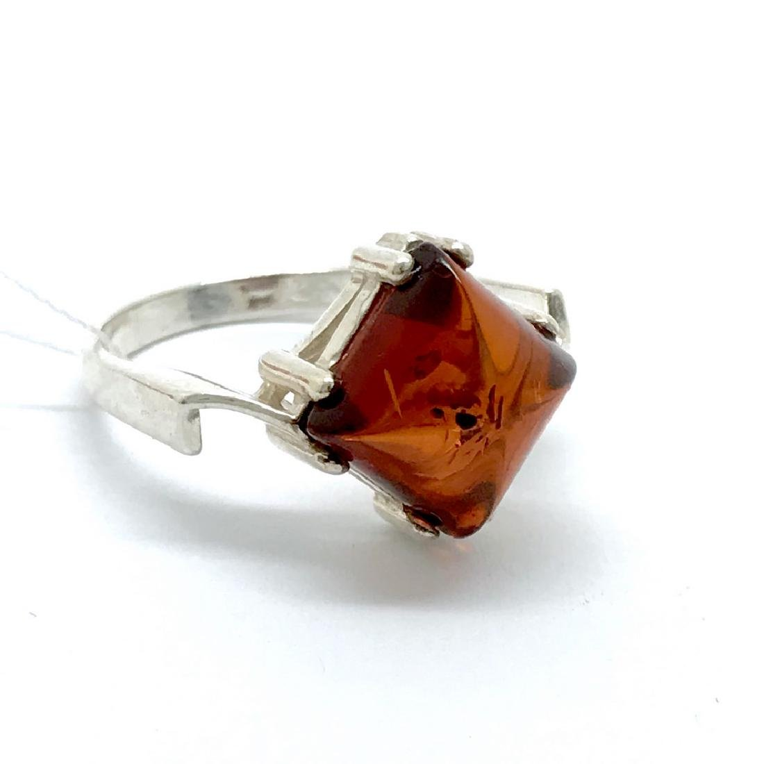 Ring Baltic amber in sterling silver