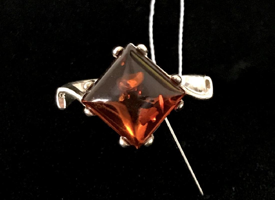 Ring Baltic amber in sterling silver - 5