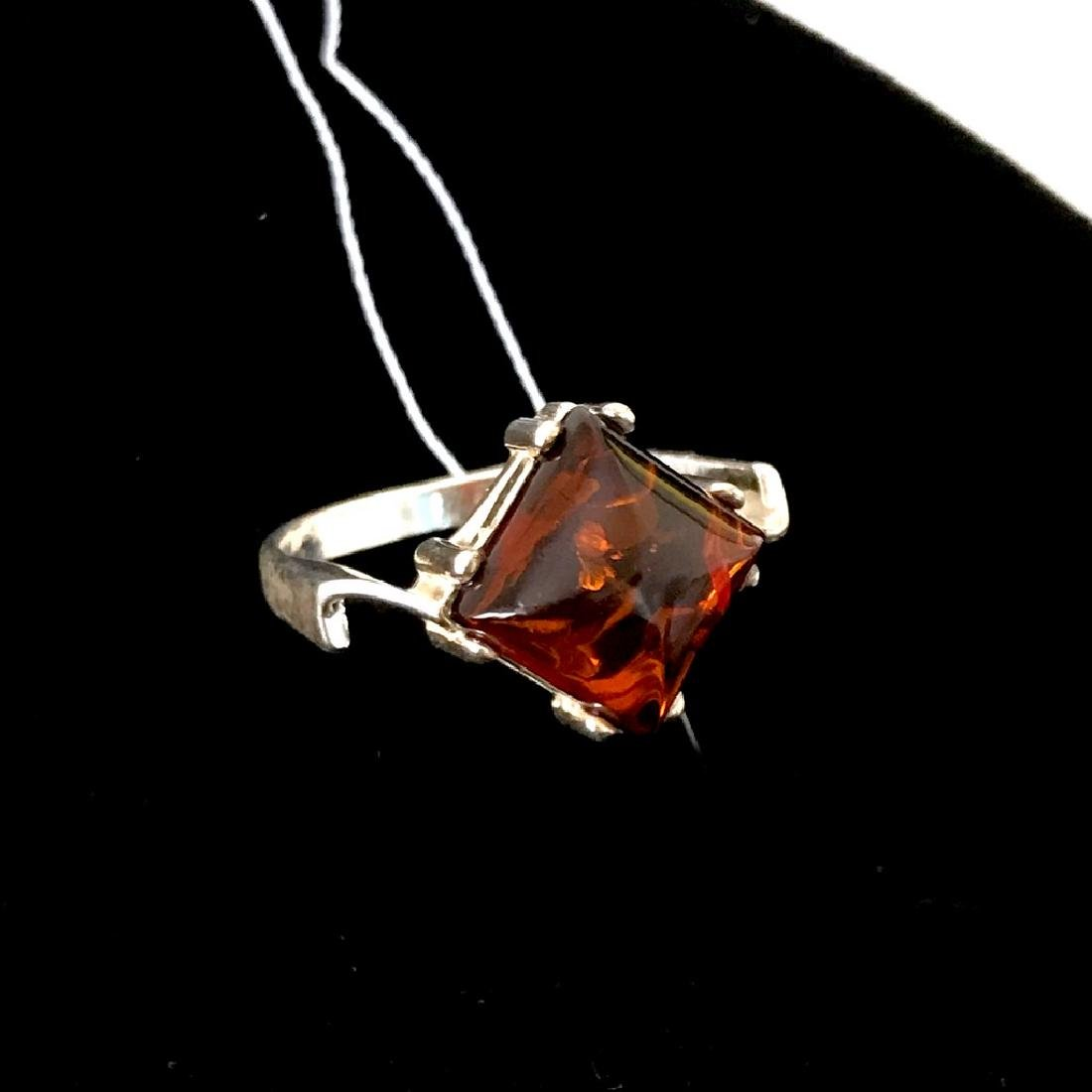 Ring Baltic amber in sterling silver - 6