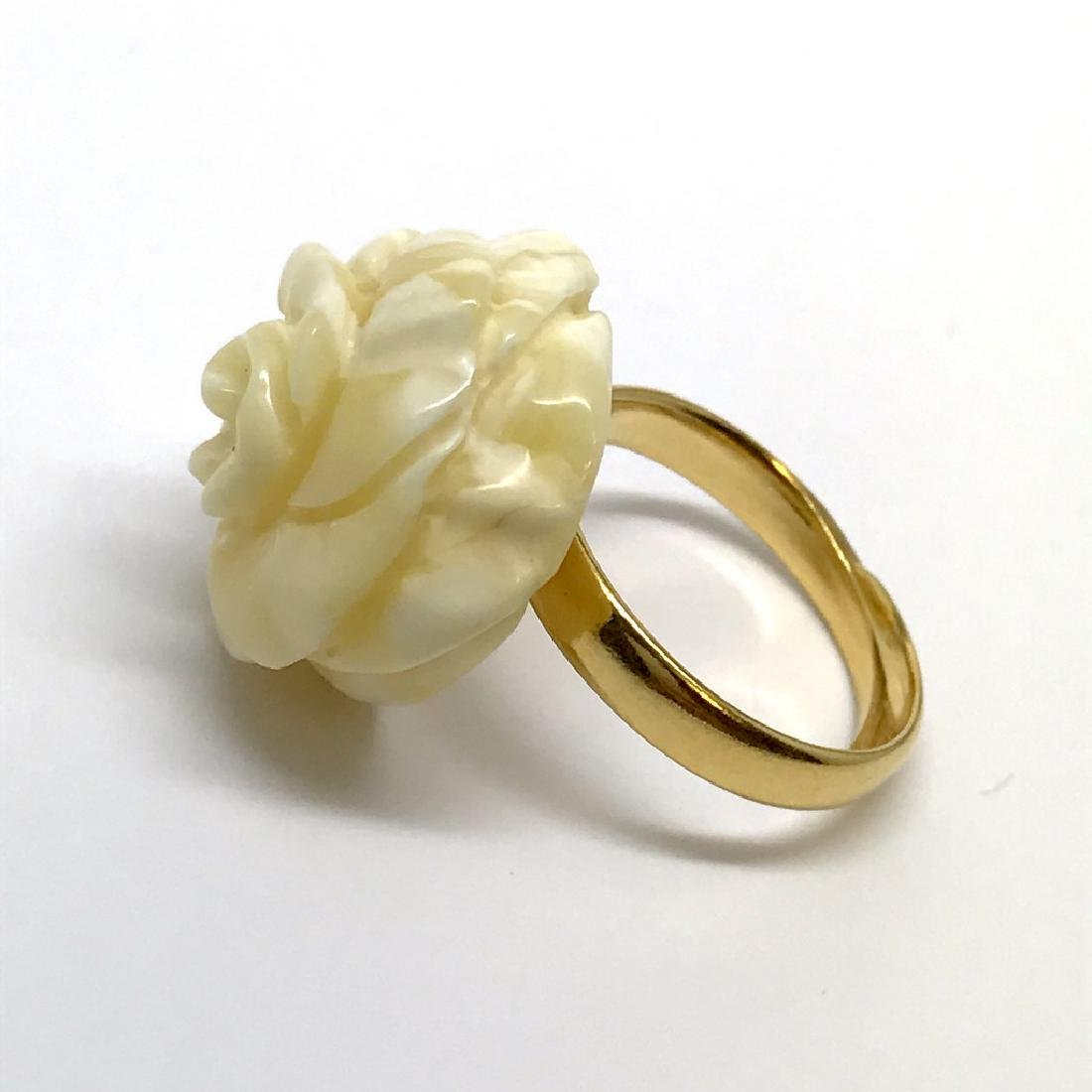 Old silver ring with carved white Baltic amber rose - 2