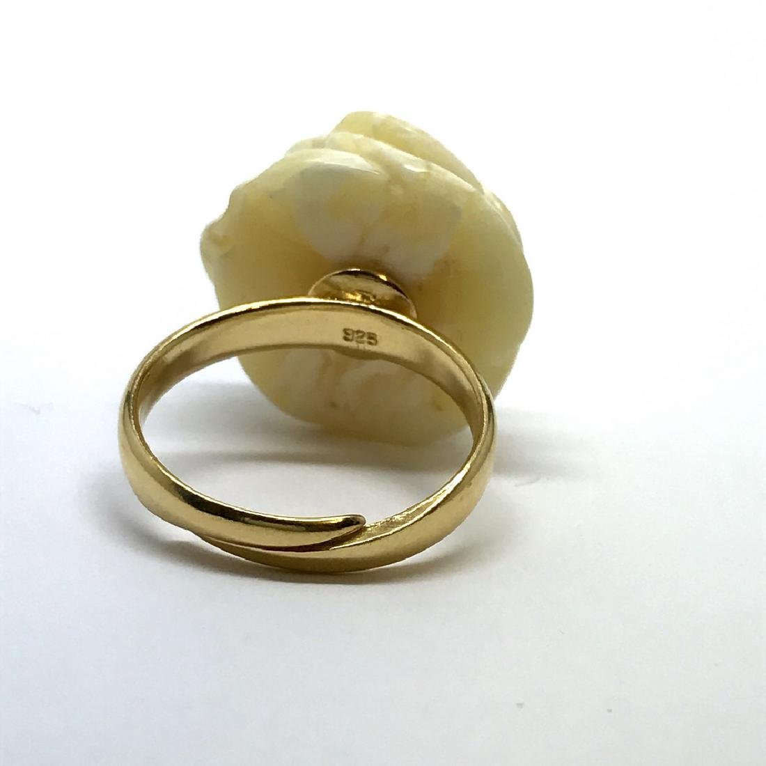 Old silver ring with carved white Baltic amber rose - 3