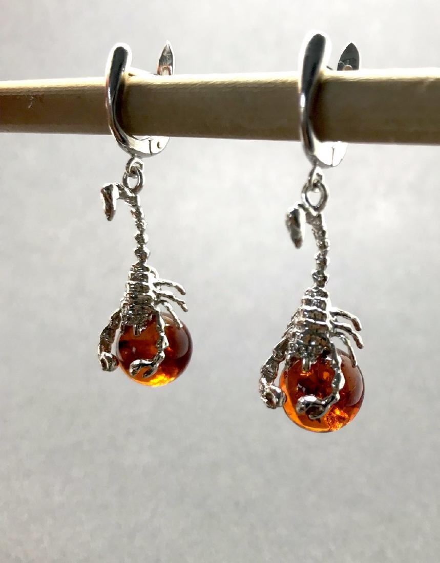 Sterling silver 925 earrings with Baltic amber balls