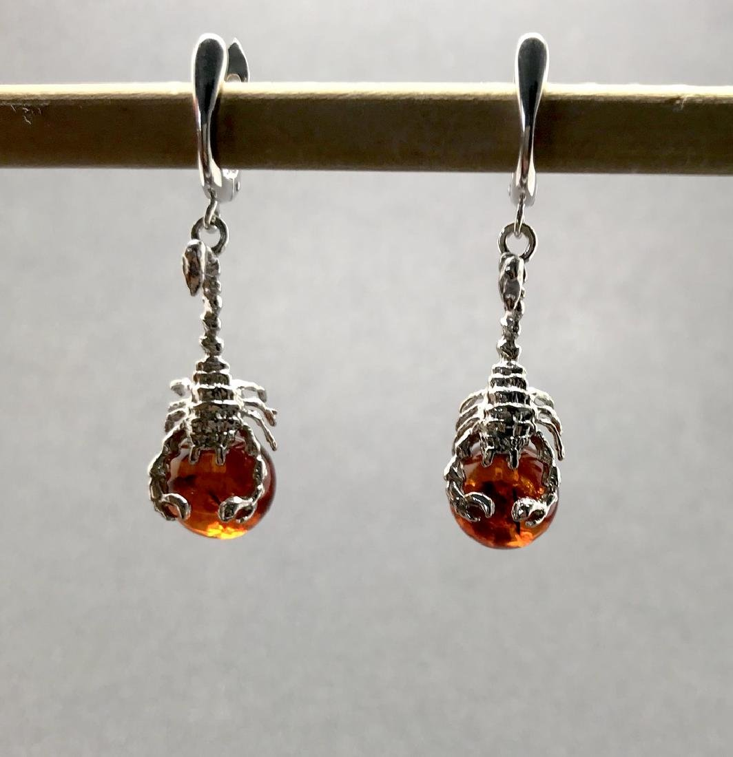 Sterling silver 925 earrings with Baltic amber balls - 2