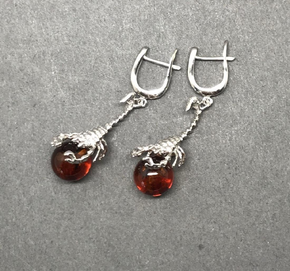 Sterling silver 925 earrings with Baltic amber balls - 3