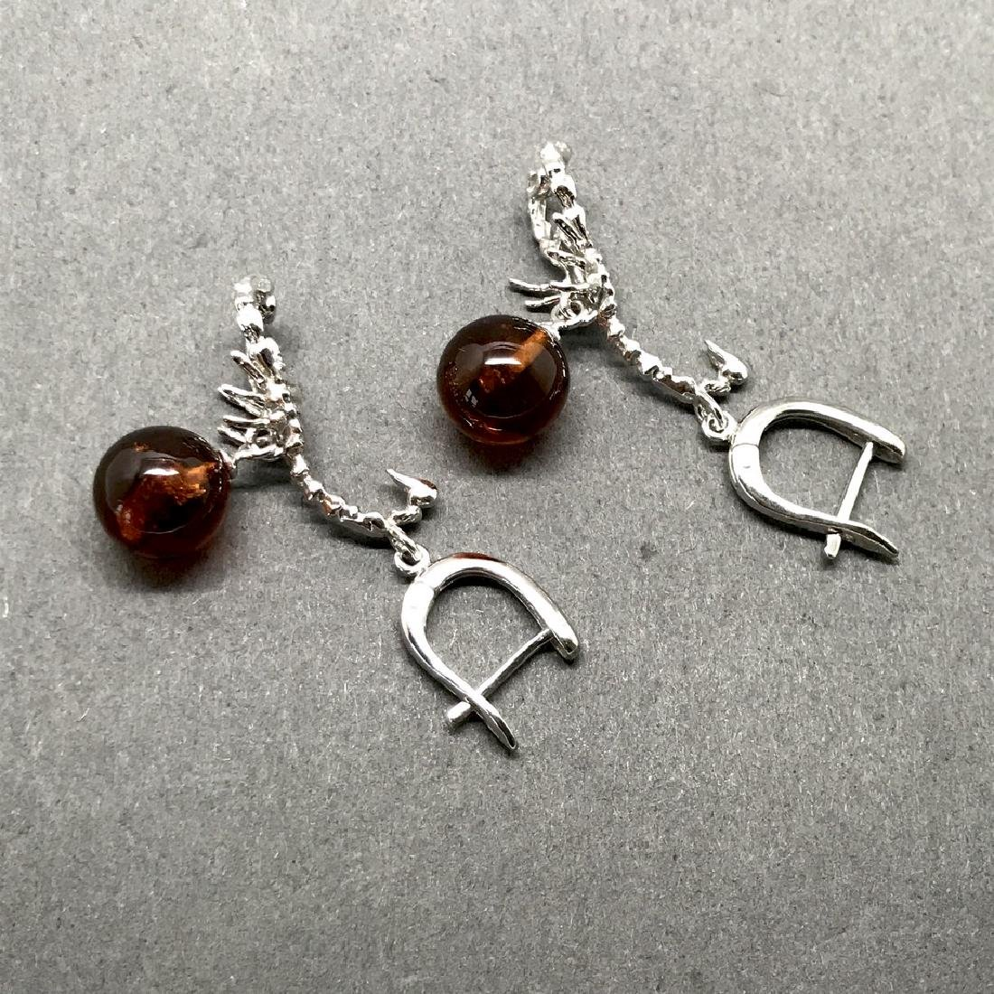 Sterling silver 925 earrings with Baltic amber balls - 4