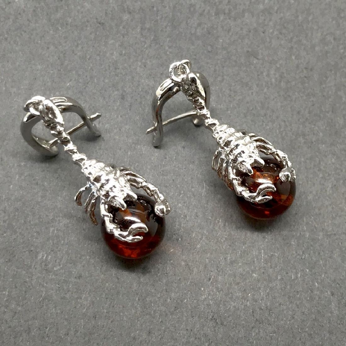 Sterling silver 925 earrings with Baltic amber balls - 5