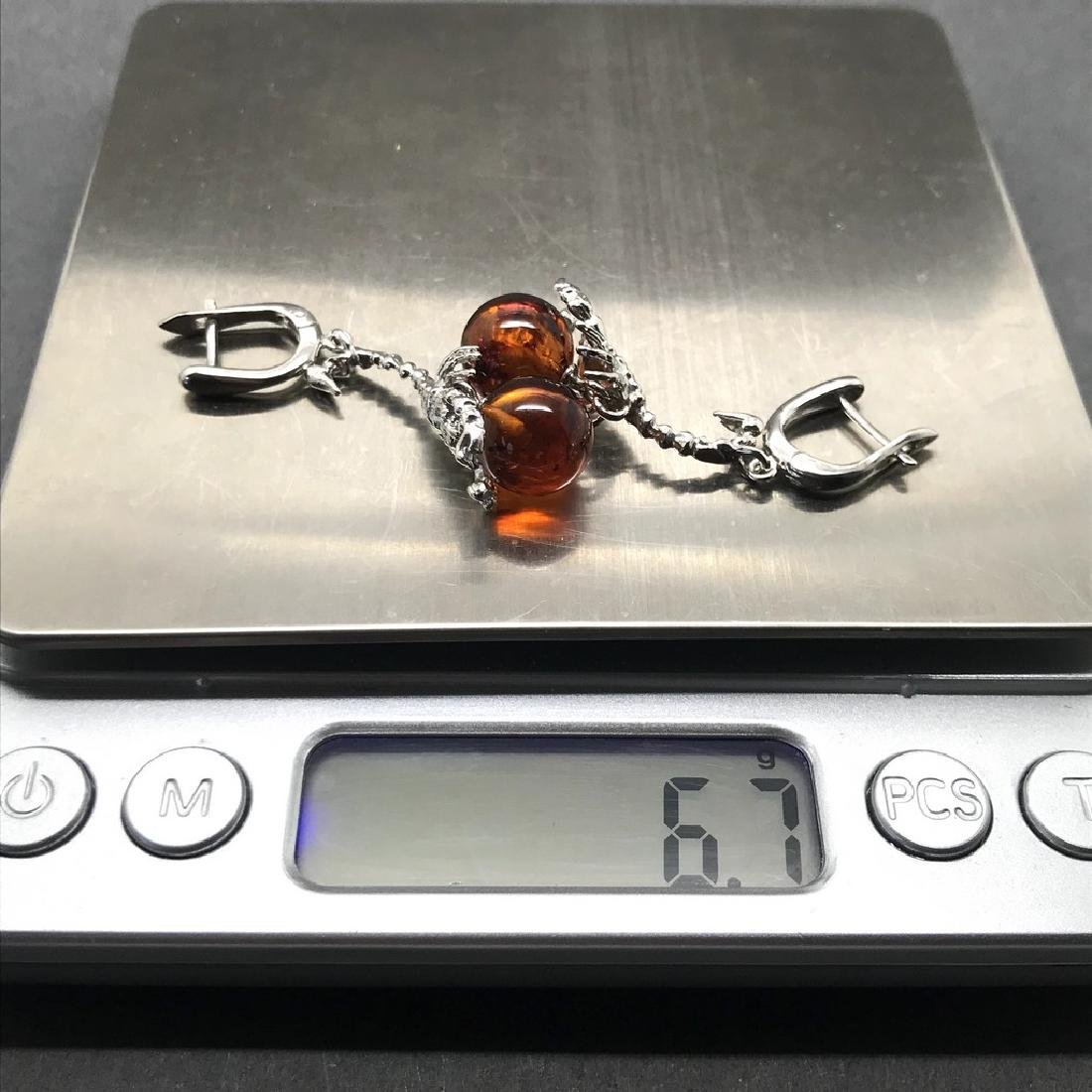 Sterling silver 925 earrings with Baltic amber balls - 8