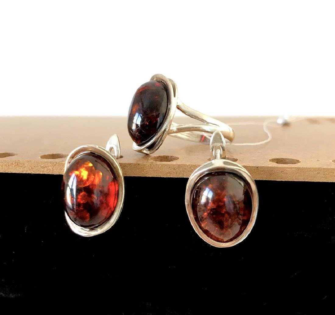 Sterling silver set with Baltic amber ring & earrings - 10