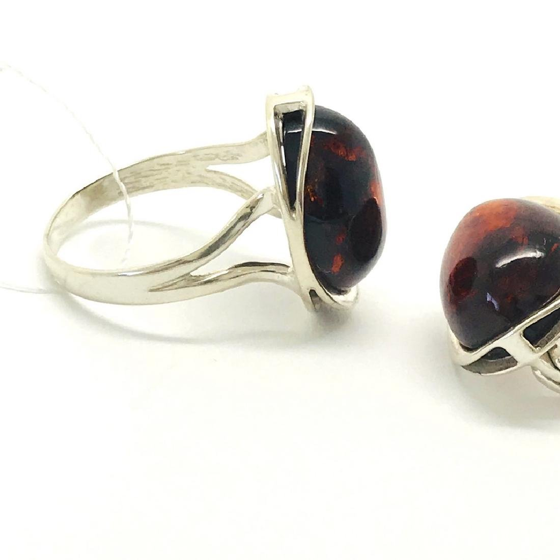 Sterling silver set with Baltic amber ring & earrings - 3