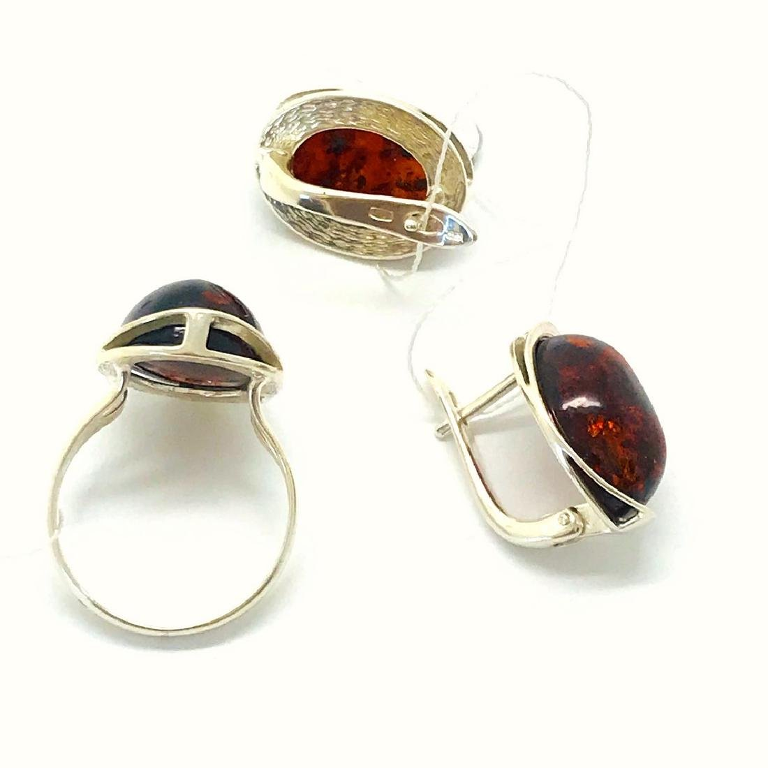 Sterling silver set with Baltic amber ring & earrings - 4