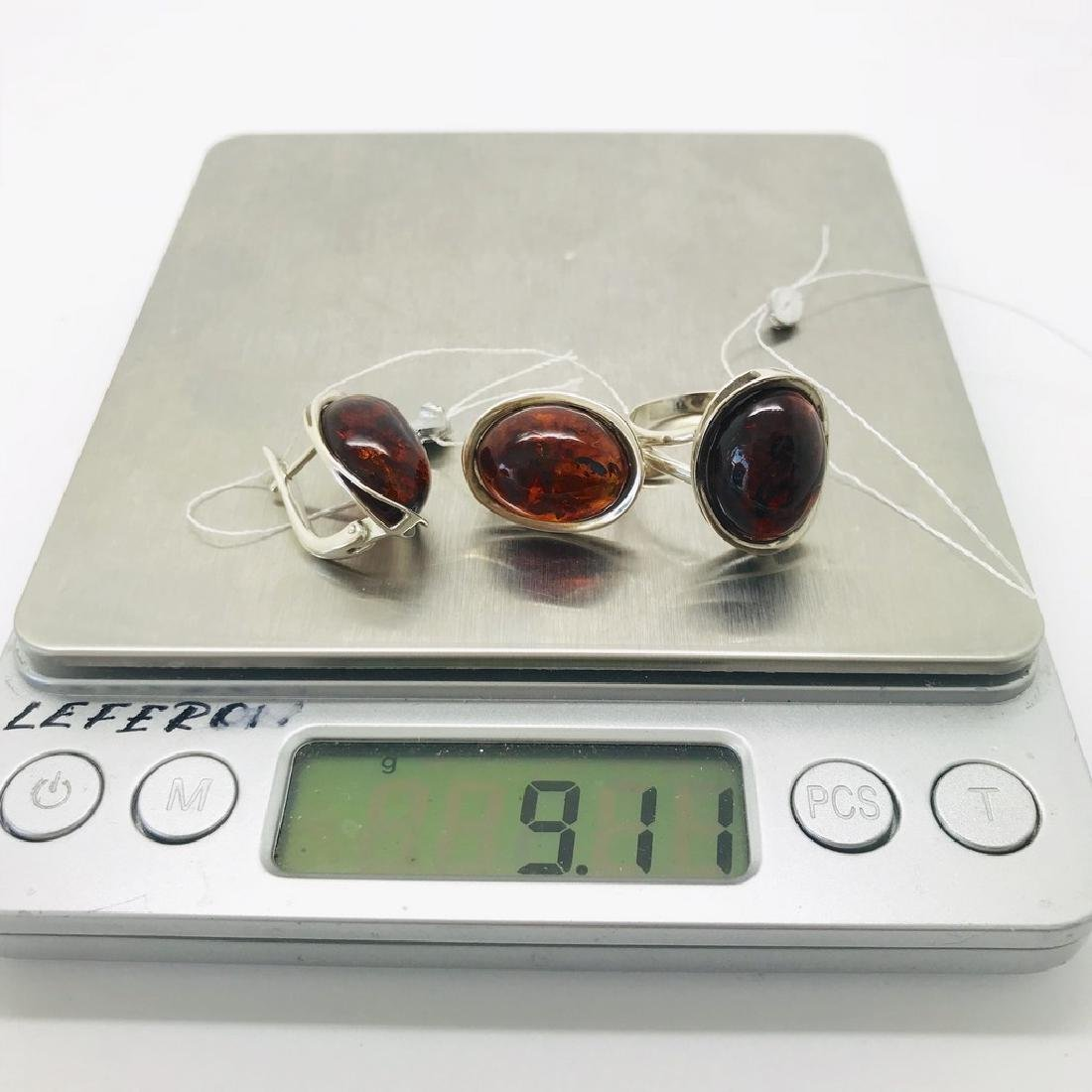 Sterling silver set with Baltic amber ring & earrings - 6