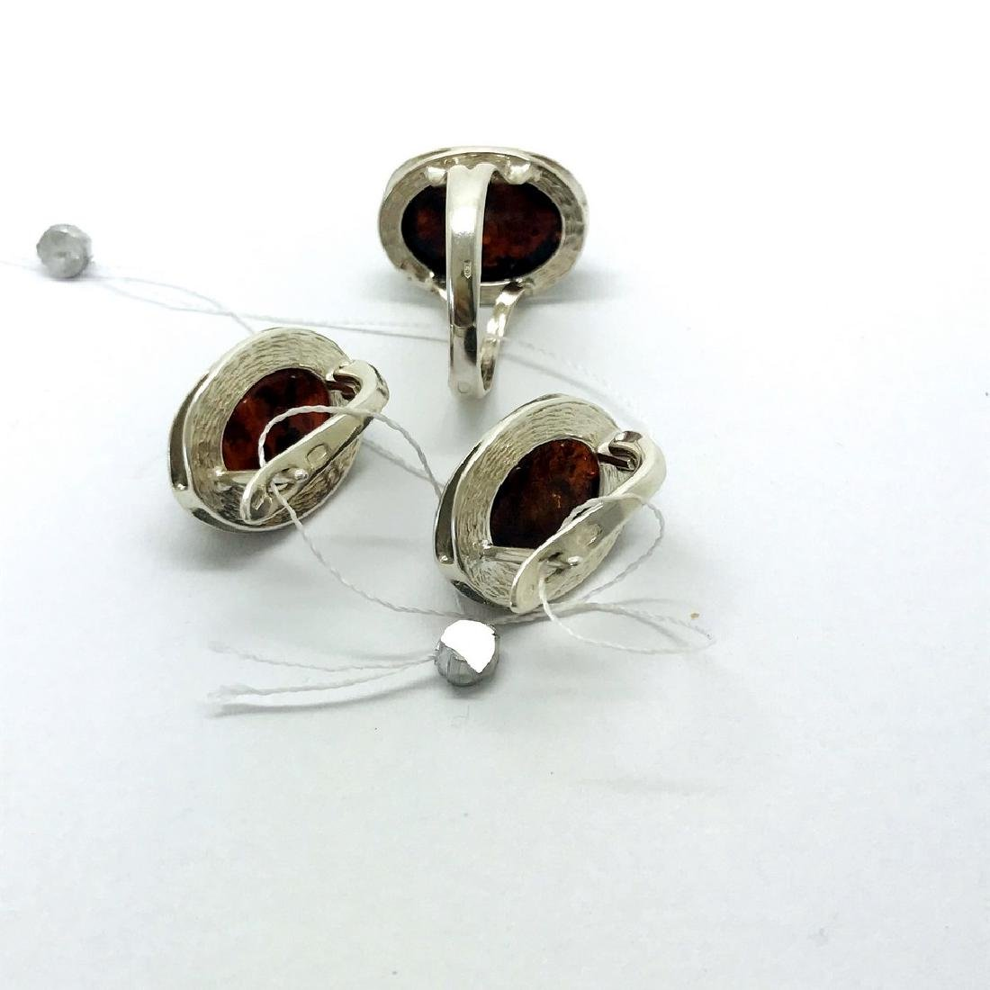 Sterling silver set with Baltic amber ring & earrings - 7