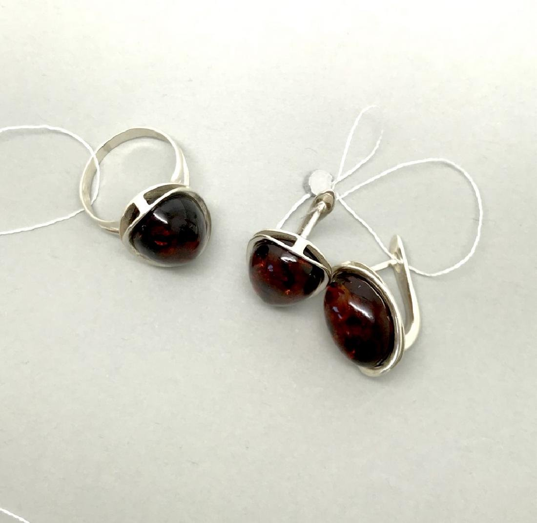 Sterling silver set with Baltic amber ring & earrings - 8