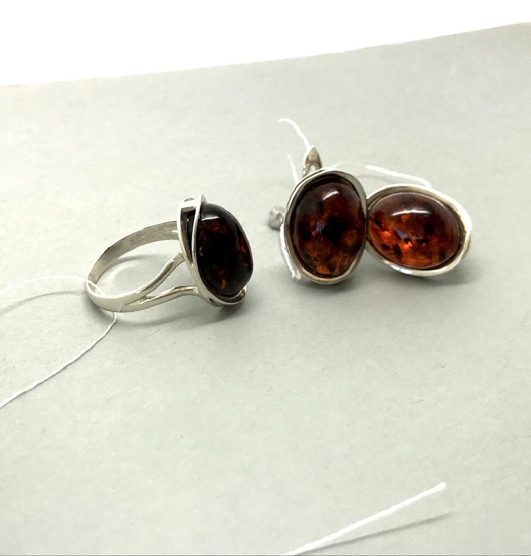Sterling silver set with Baltic amber ring & earrings - 9