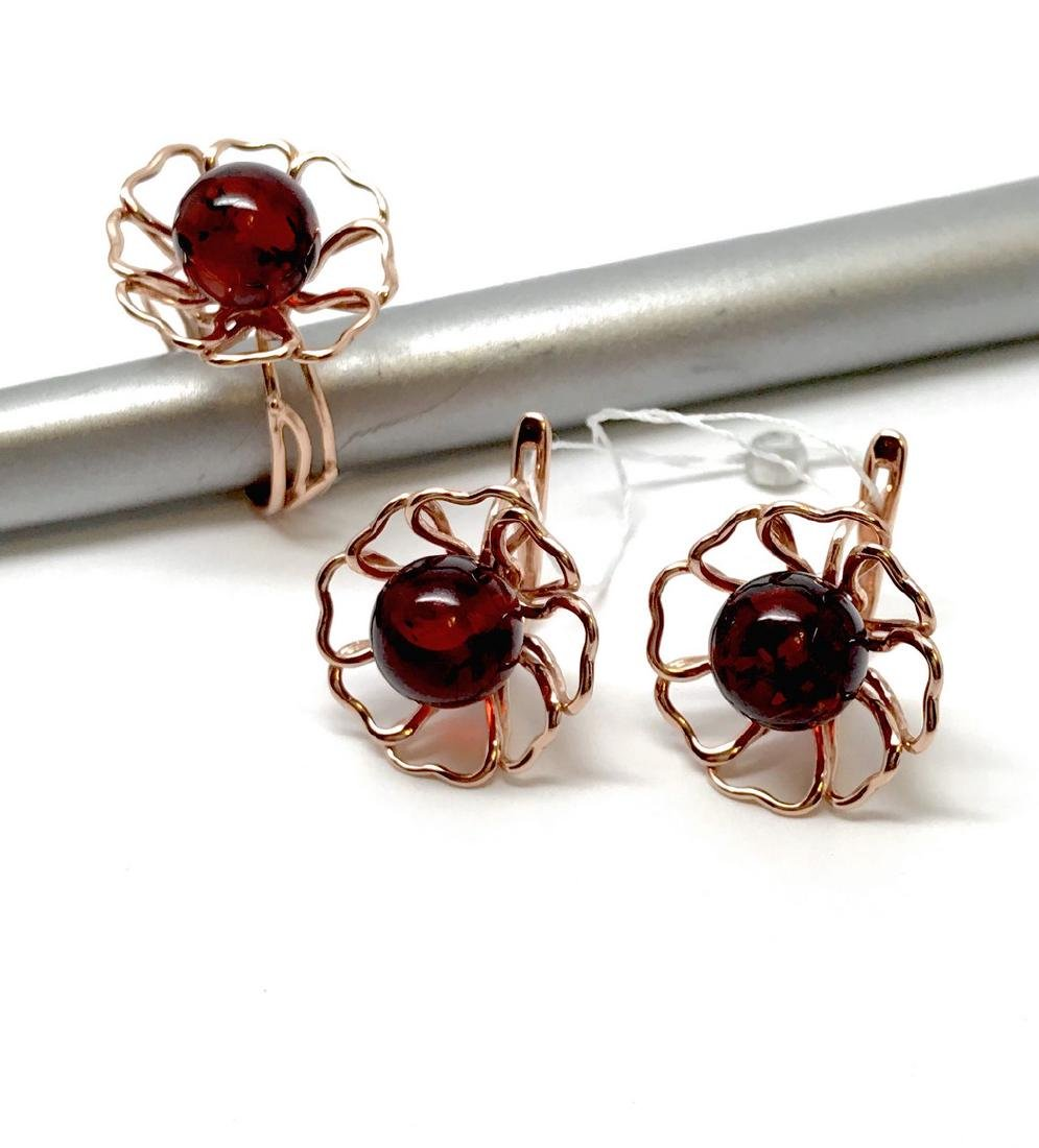 Earrings Ring 24K gold-silver Baltic amber, sealed - 5