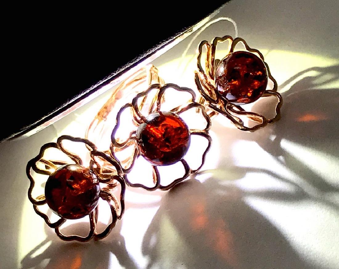 Earrings Ring 24K gold-silver Baltic amber, sealed - 7