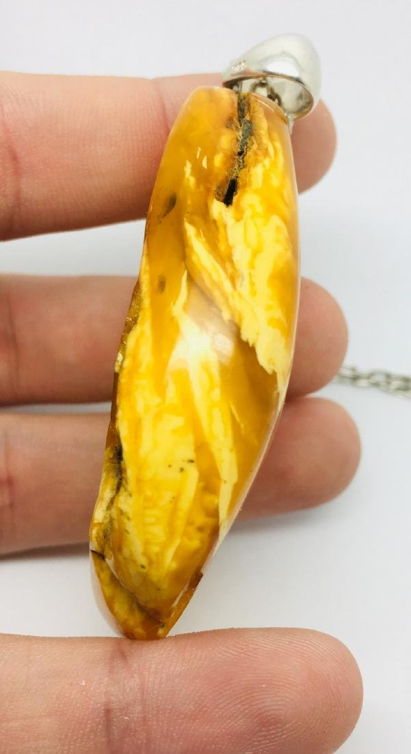 Amber pendant with sterling silver - 4