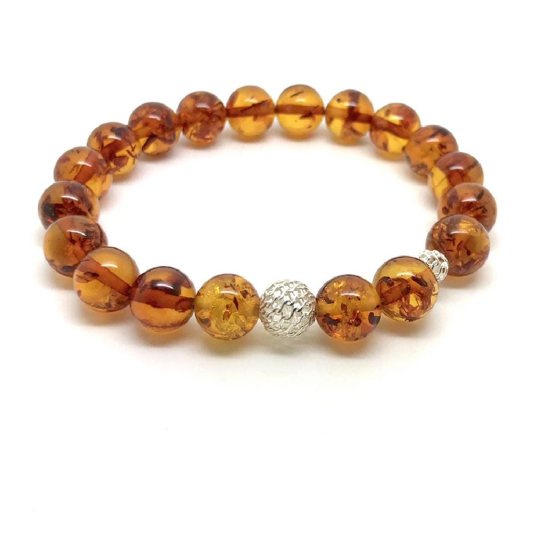 Baltic amber bracelet with sterling silver filigree