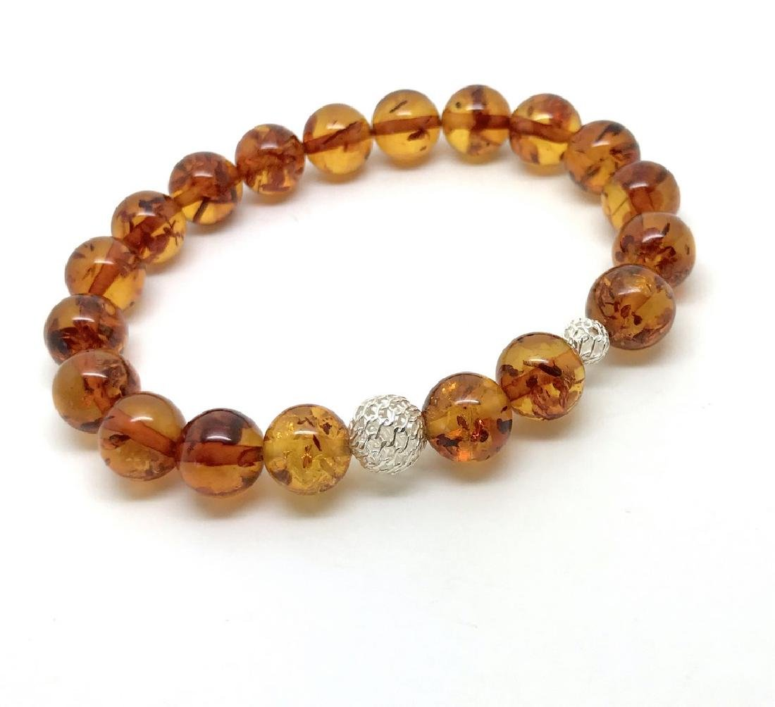 Baltic amber bracelet with sterling silver filigree - 2
