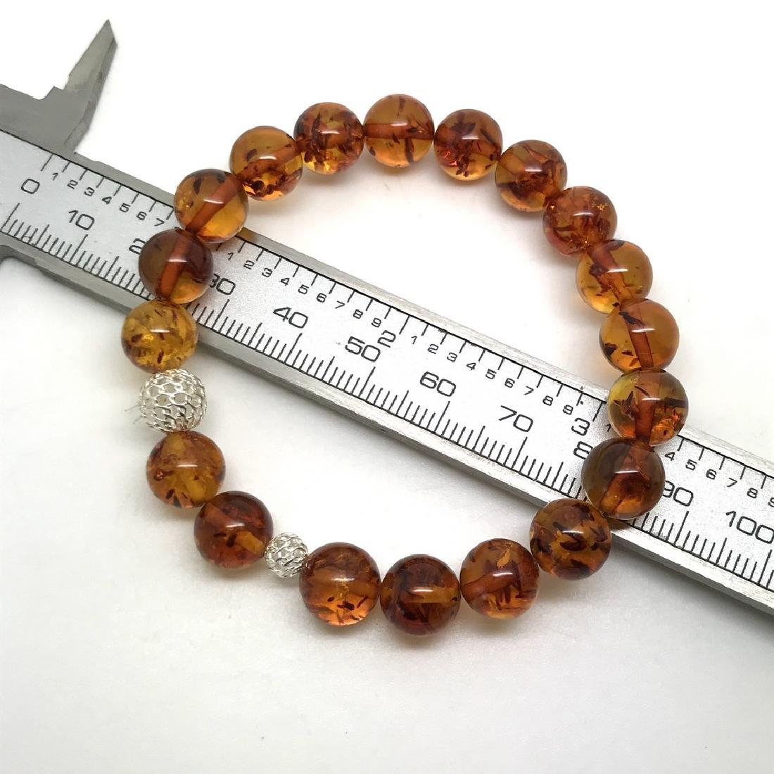 Baltic amber bracelet with sterling silver filigree - 4