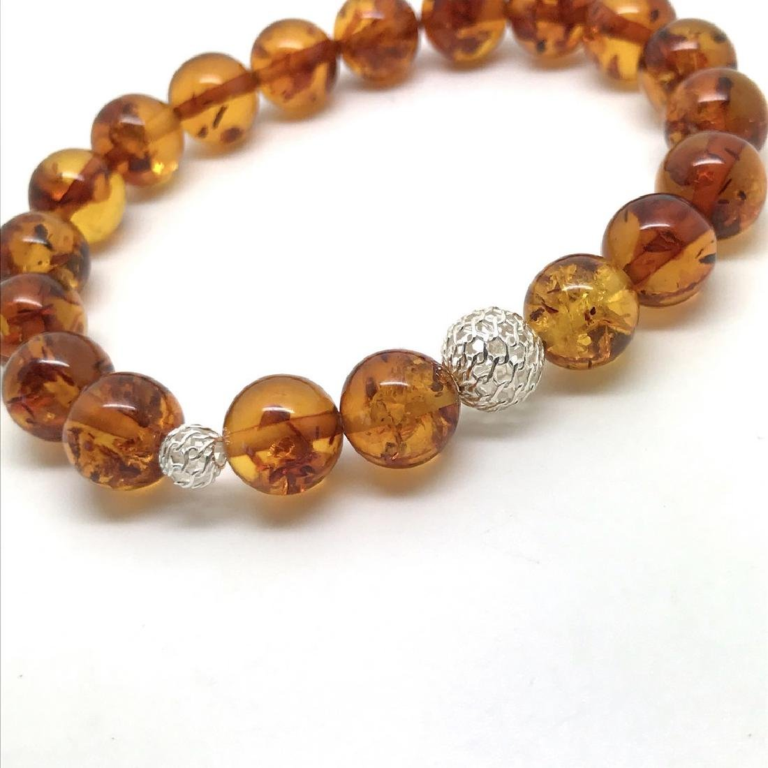 Baltic amber bracelet with sterling silver filigree - 6