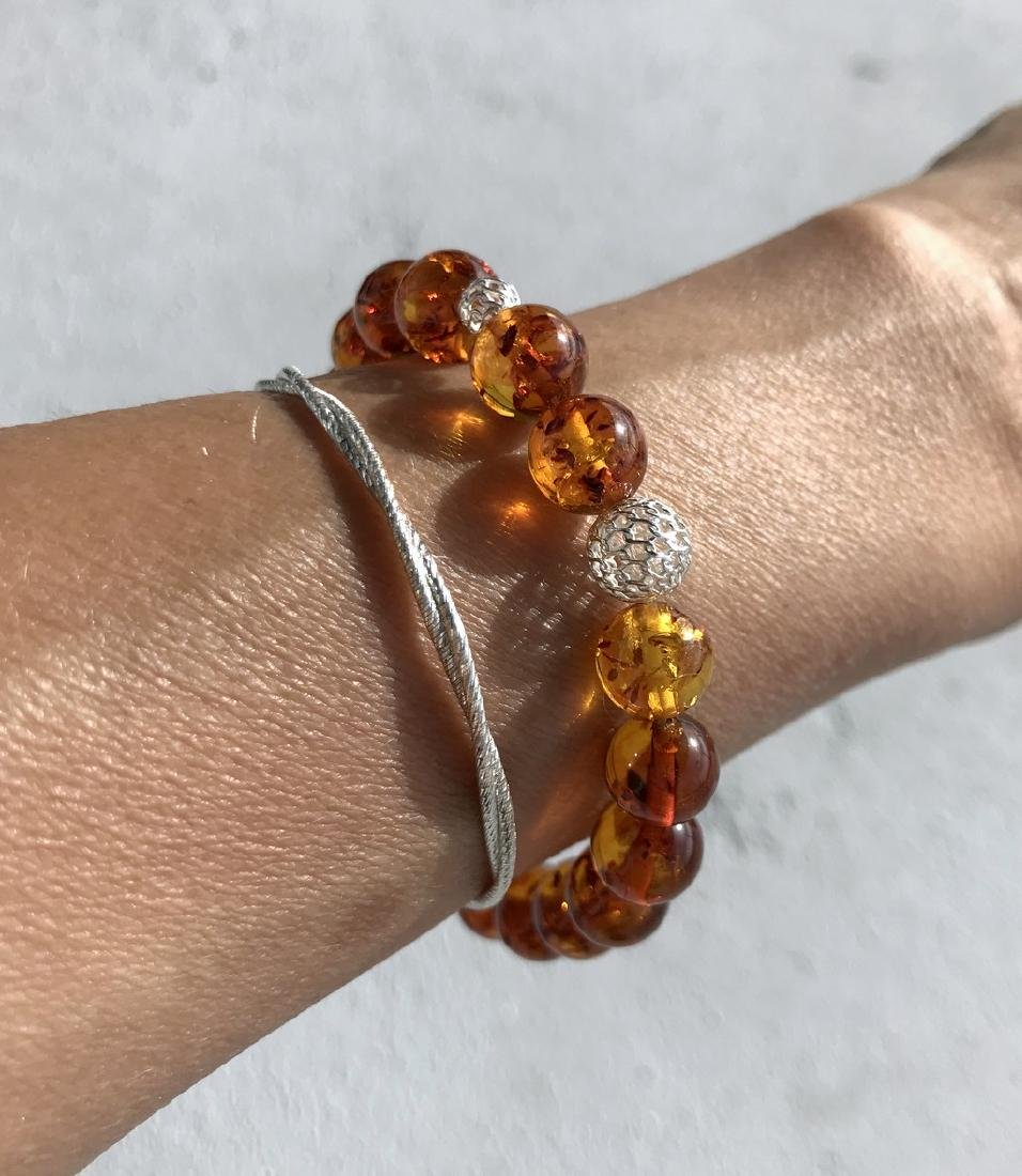 Baltic amber bracelet with sterling silver filigree - 7