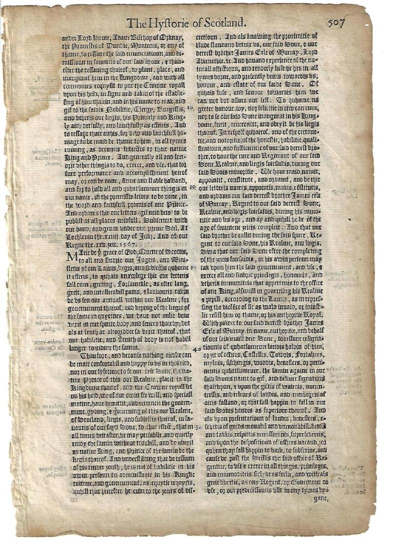 1577 English Leaf Holinshed Mary Queen of Scots