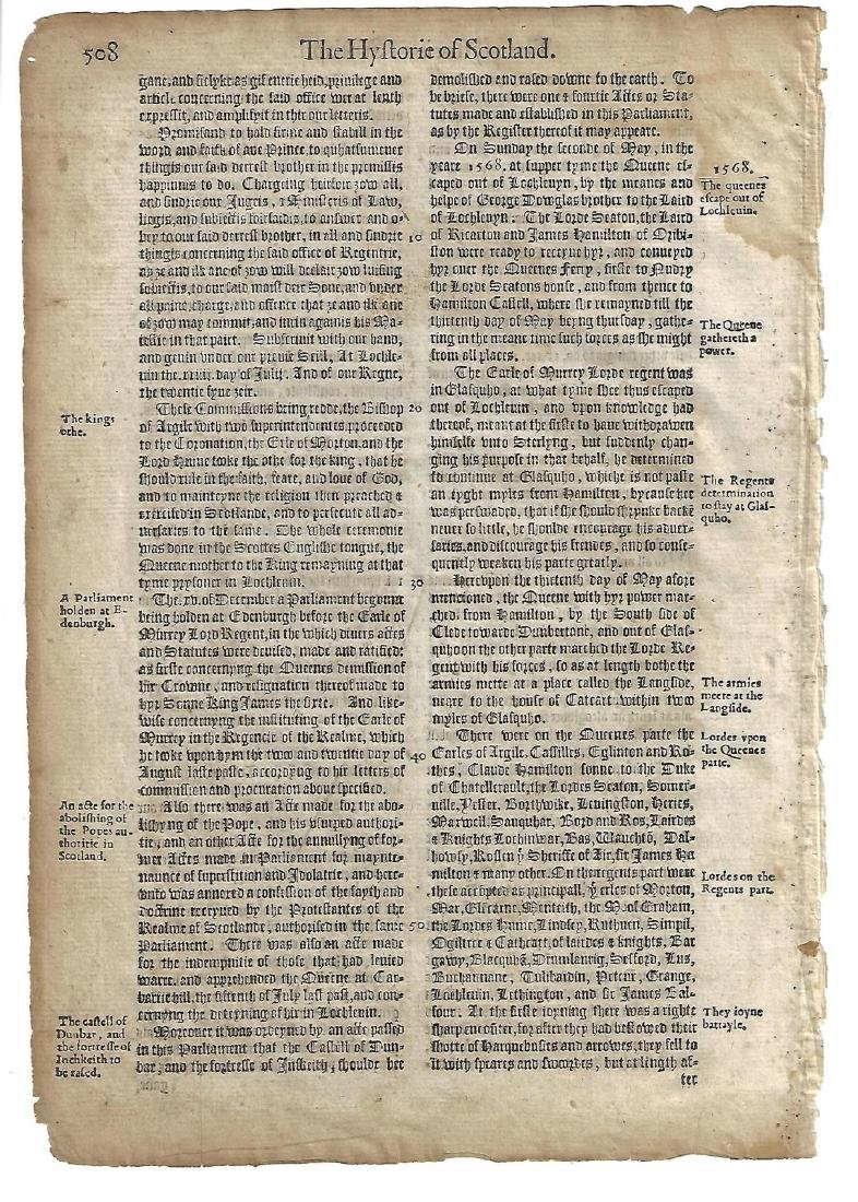 1577 English Leaf Holinshed Mary Queen of Scots - 2