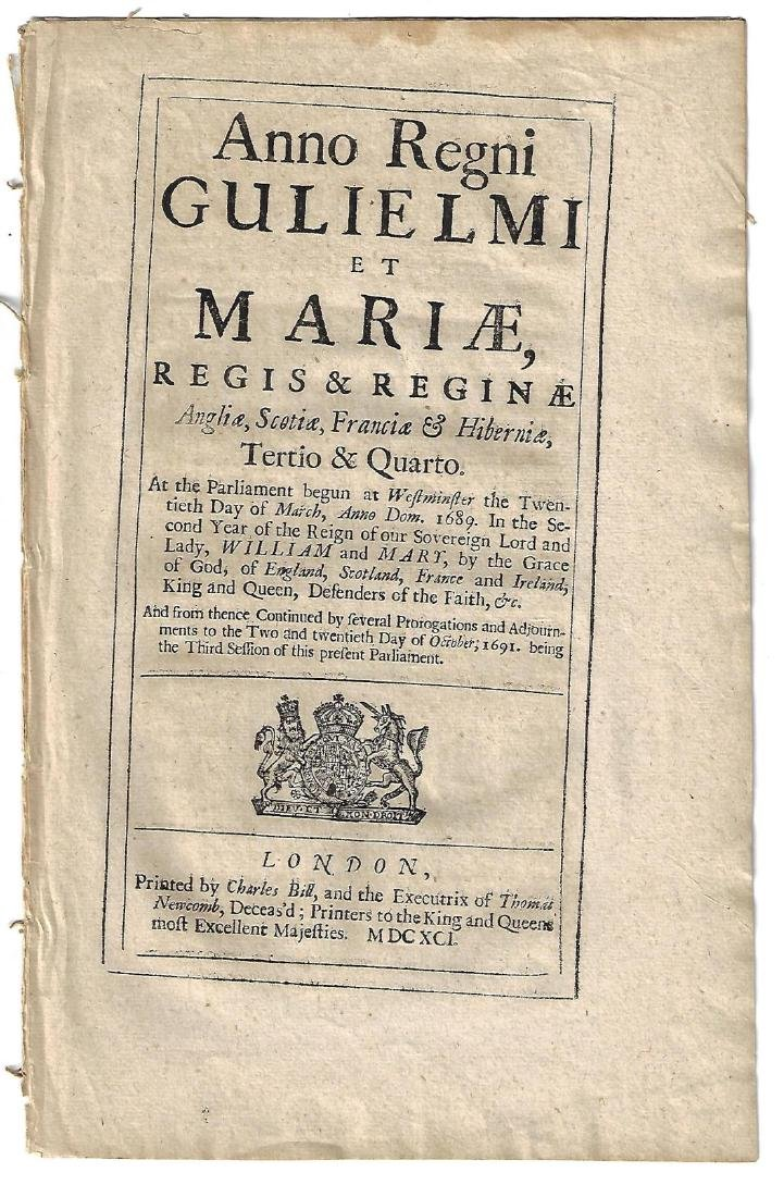 1691 Reign of William and Mary Acts